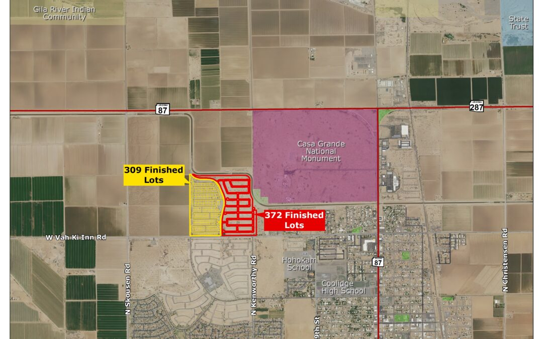 Richmond America Homes, Oakwood Homes purchase 372 finished residential lots in Coolidge's Cross Creek Ranch for nearly $27.5M
